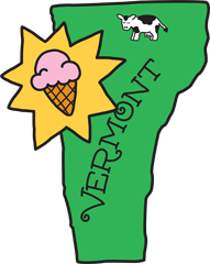 Image of Vermont with a cow and Ice Cream cone