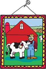 A picture with a barn and a farmer hugging a cow