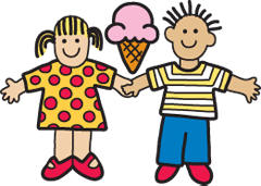 Girl and a boy holding hands with a ice cream cone between them