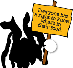 A cow holding a sign Everyone has a right to know what's in their food