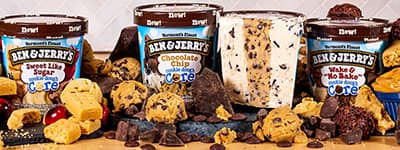 Three pints of Ben & Jerry's Cores Ice Cream