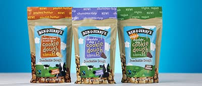 Three bags of Ben & Jerry's Cookie Dough Chunks