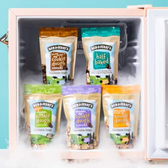 All of Ben & Jerry's Dough Chunks flavors in a freezer