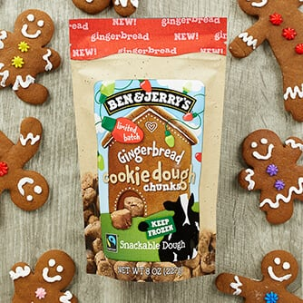 A bag of Ben & Jerry's Gingerbread Cookie Dough Chunks and Gingerbread men