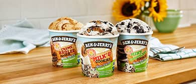 Three pints of certified vegan Ben & Jerry's Non-Dairy frozen dessert.