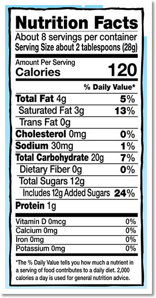 Nutrition Facts Label for Vegan Chocolate Chip Cookie Dough