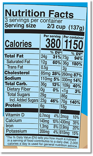 Nutrition Facts Label for Boom Chocolatta™ Cookie Core