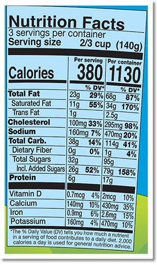 Nutrition Facts Label for Caramel Chocolate Cheesecake