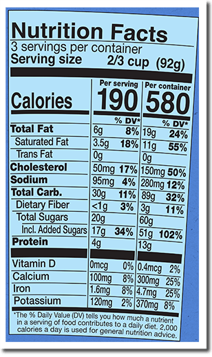 Nutrition Facts Label for Chocolate Milk & Cookies