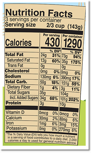Nutrition Facts Label for Coconut Seven Layer Bar