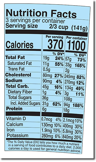 Nutrition Facts Label for Half Baked®