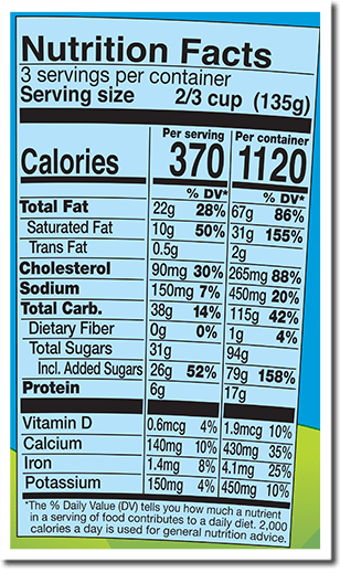 Ingredients & Nutrition Facts - CREAM, SKIM MILK, LIQUID SUGAR (SUGAR, WATER), WATER, SUGAR, WHEAT FLOUR, CANOLA OIL, EGG YOLKS, BROWN SUGAR, BUTTER (CREAM, SALT), CHOCOLATE LIQUOR, COCOA (PROCESSED WITH ALKALI), COCOA, SOYBEAN OIL, BUTTEROIL, EGGS, SALT, NATURAL FLAVOR, VANILLA EXTRACT, TAPIOCA STARCH, HONEY, GUAR GUM, SODIUM BICARBONATE, COCOA BUTTER, VANILLA BEANS, SOY LECITHIN, CARRAGEENAN.