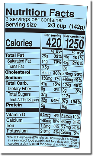 Nutrition Facts Label for Oat of This Swirled™