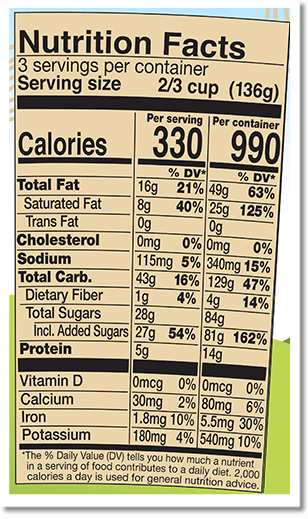 Nutrition Facts Label for Peanut Butter Half Baked®