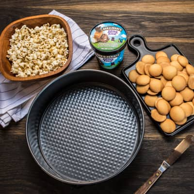 Step 2 Cake pan, popcorn, and cookies