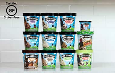 Pints of Gluten-Free Ben & Jerry's flavors stacked into columns