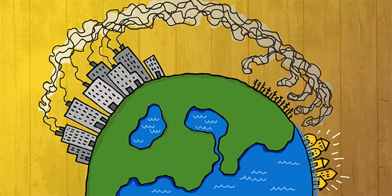 An illustration of the world with buildings and smoke