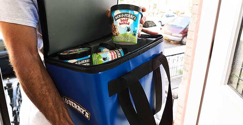 A cooler filled with Ben & Jerry's Ice Cream Pints