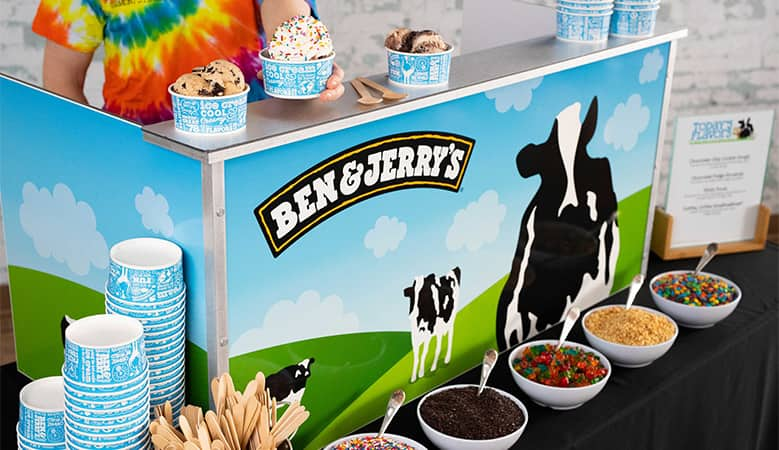 A Ben & Jerry's sundae cart with all the fixings