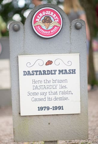 A Tombstone with RIP Ben & Jerry's Dastardly Mash