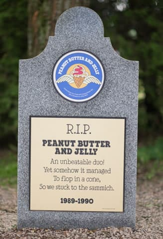 A Gravestone with RIP Ben & Jerry's Peanut Butter and Jelly