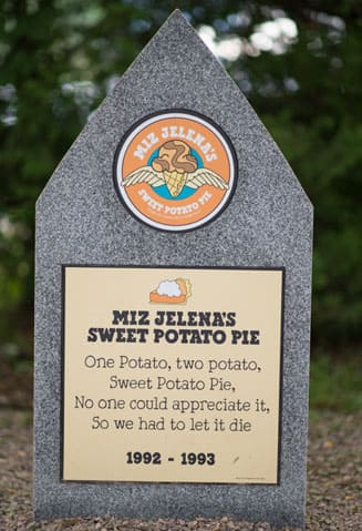 A Tombstone with RIP Ben & Jerry's Miz Jelena's Sweet Potato Pie