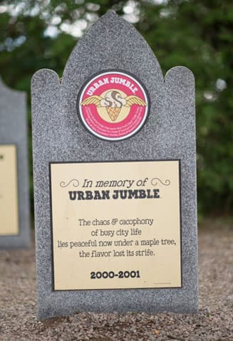 A Tombstone with RIP Ben & Jerry's Urban Jumble