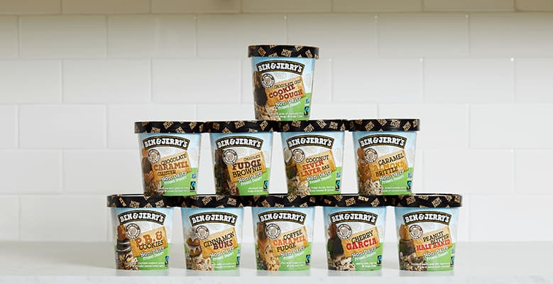 10 Pints of Ben & Jerry's Non-Dairy Ice Cream stacked on a counter