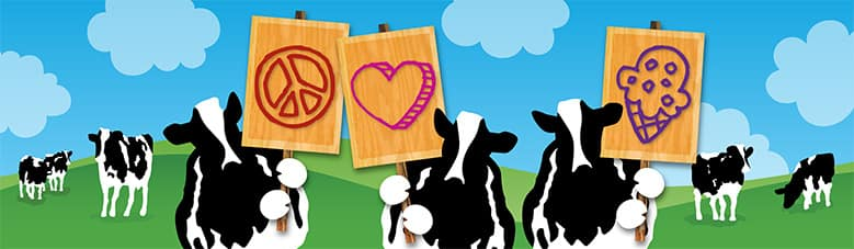 Ben & Jerry's is a values-led business cow holding signs