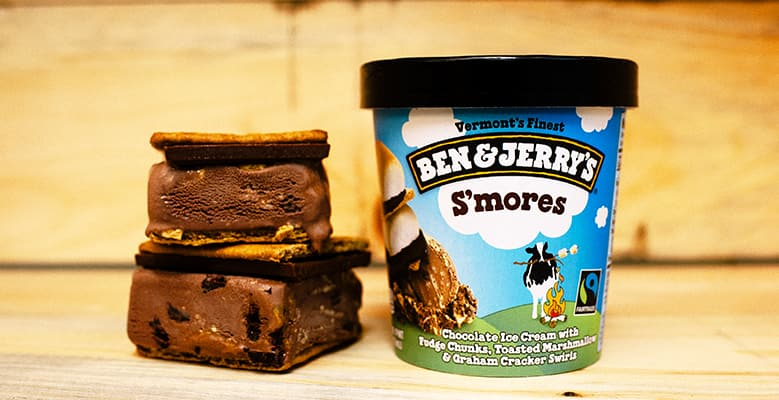 A pint of S'mores Ben & Jerry's ice cream with smores sandwiches