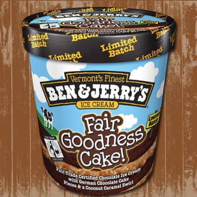 A pint of Ben & Jerry's Fair Goodness Cake!