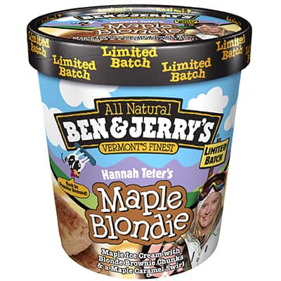 A pint of Ben & Jerry's Hannah Teter's Maple Blondie