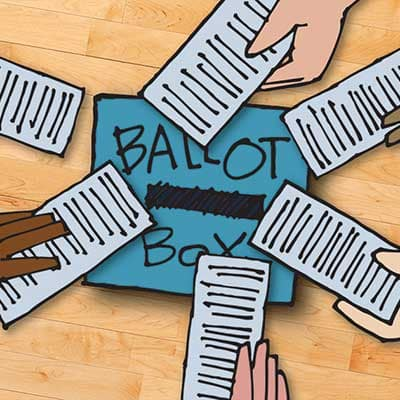 Illustration of hands putting ballots in a ballot box