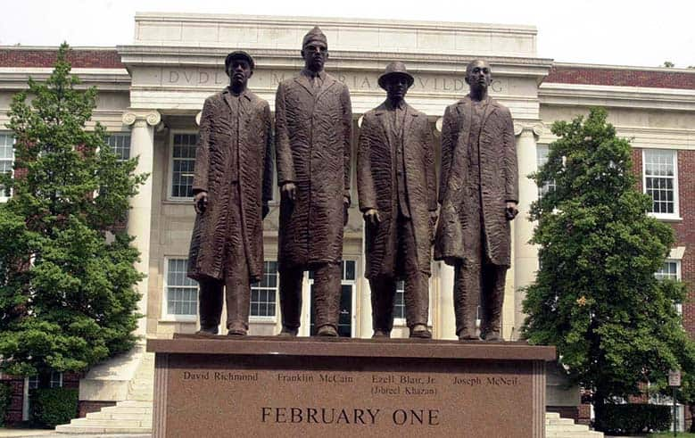 statue of the A&T Four at A&T University