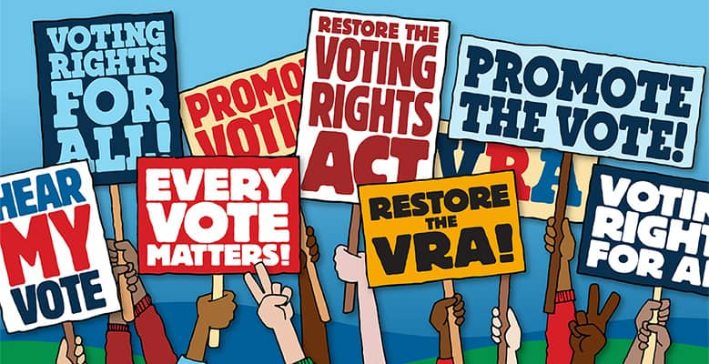 Voter rights for all signs