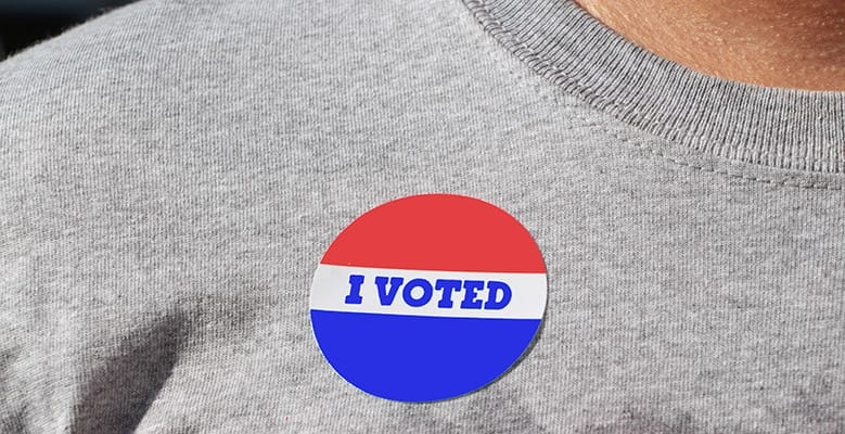 I voted sticker on a t-shirt