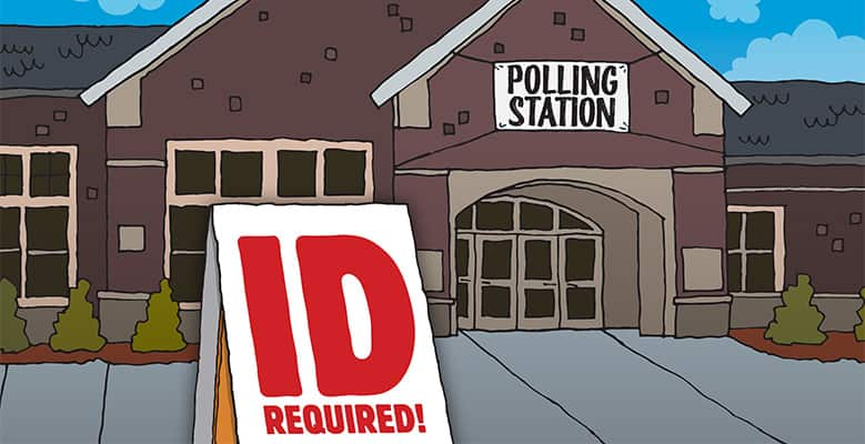 a polling station with id required sign