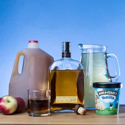 Step 1 apple cider, ginger beer or ginger ale, and bourbon or dark rum