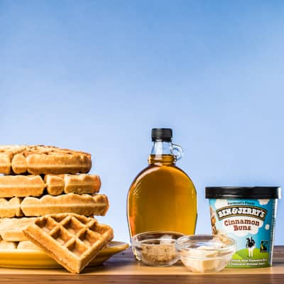 Waffles syrup and Pint of Cinnamon Buns
