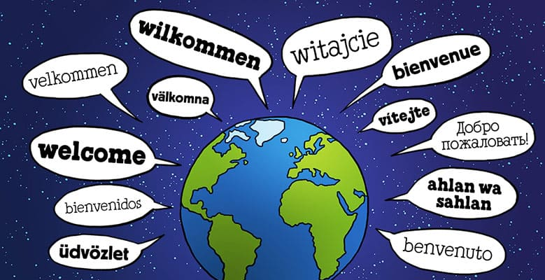 Picture of earth with welcome in many languages