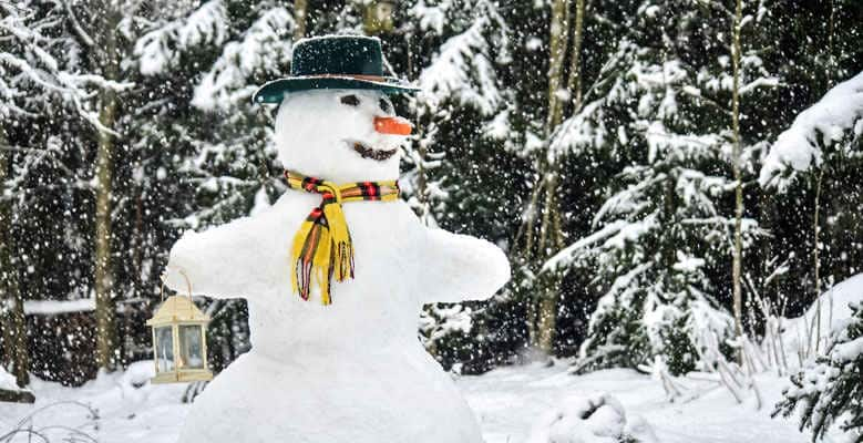A cute snowman with hat and scarf