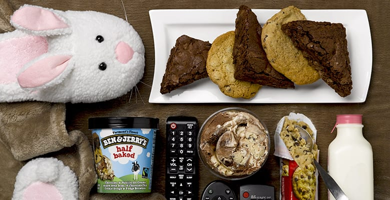 Bunny, cookies, remotes, ice cream milk, slippers