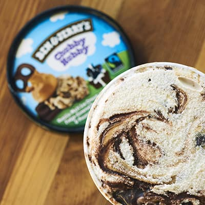 A pint of Ben & Jerry's with the lid off