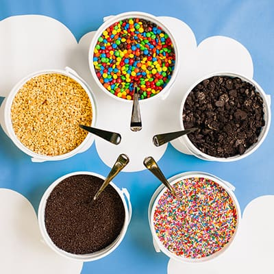 Bowls of ice cream toppers