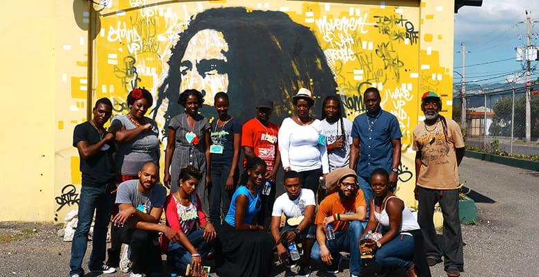 Members in front of Bob Marley Street Art