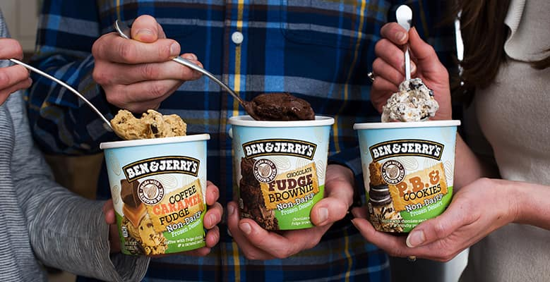 3 pints of Ben & Jerry's Non-Dairy with spoons