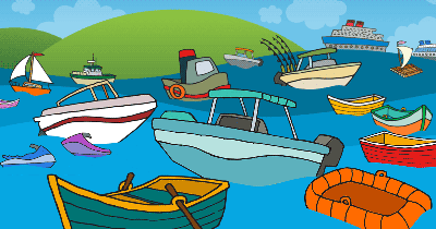 Cartoon of boats in water