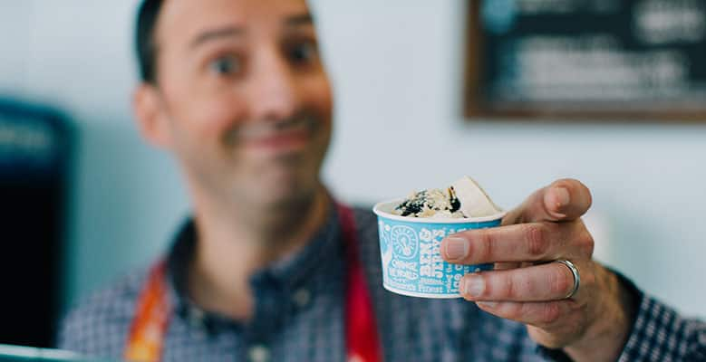 Buster Bluth at the Burbank, CA Ben & Jerry's Scoop Shop, May 17, 2018