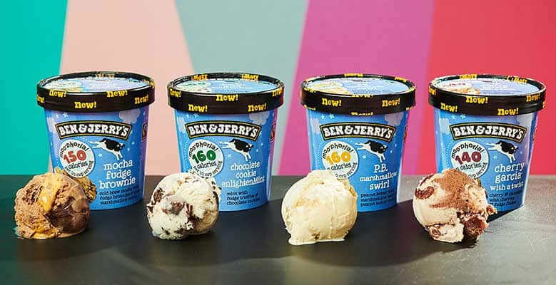 Four pints of Ben & Jerry's Moo-phoria light ice cream on a bright background