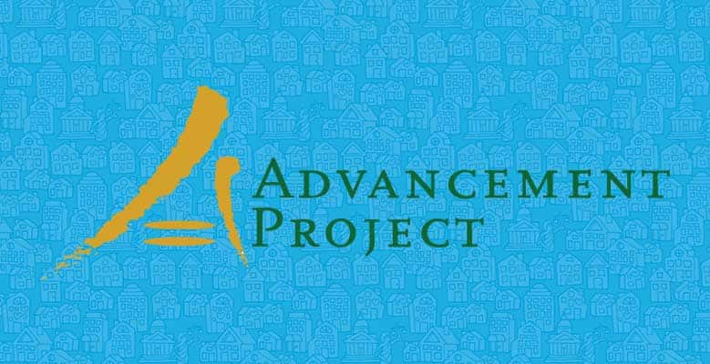 Advancement Project logo on an illustrated blue background